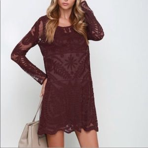 Maroon lace overlay dress